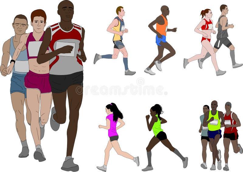 人赛跑,详细的彩色插图 皇族释放例证
