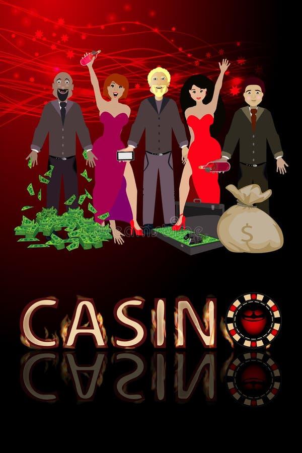 人赢取赌博娱乐场和很多美元的手 向量例证