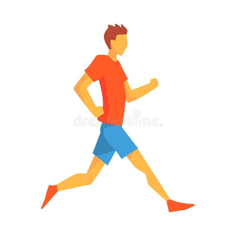 人跑步在缓慢的步幅的,跑在红顶的轨道和蓝色短在赛跑的男性运动员竞争例证 向量例证