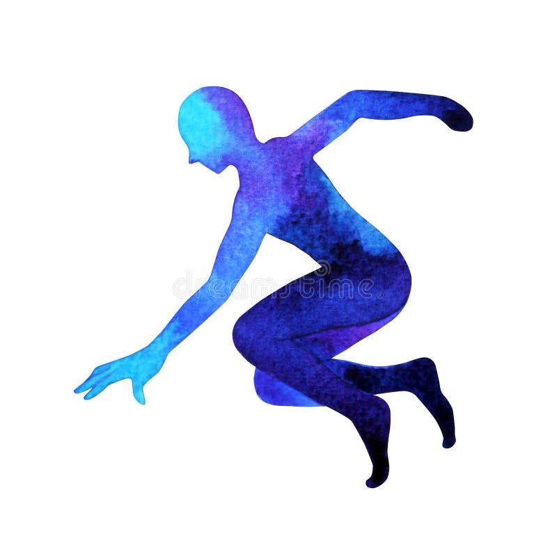 人跑的跳跃的培养递力量能量姿势,摘要 免版税库存照片