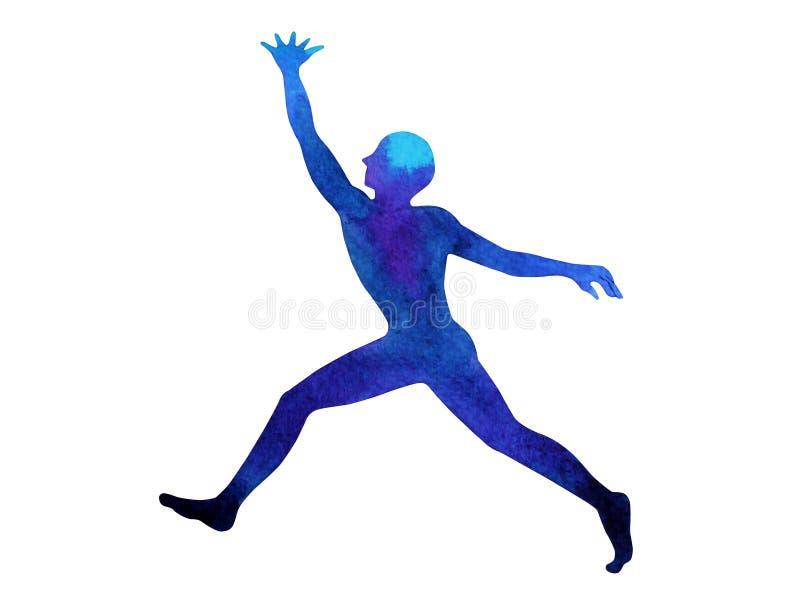人跑的跳跃的培养递力量能量姿势,摘要 库存图片