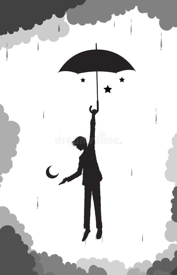 人躲藏起来从月亮和星在他的伞cluds和雨,年轻巫术师,在天堂的场面下,黑白 向量例证