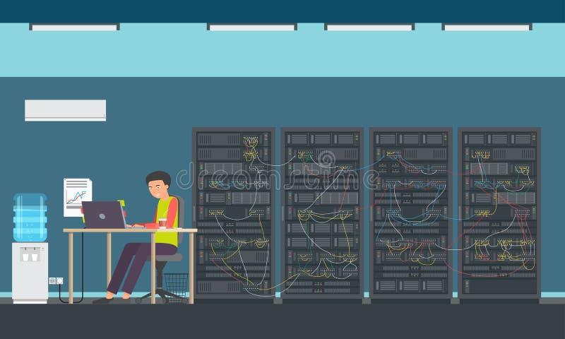 人运作的数据中心 库存例证