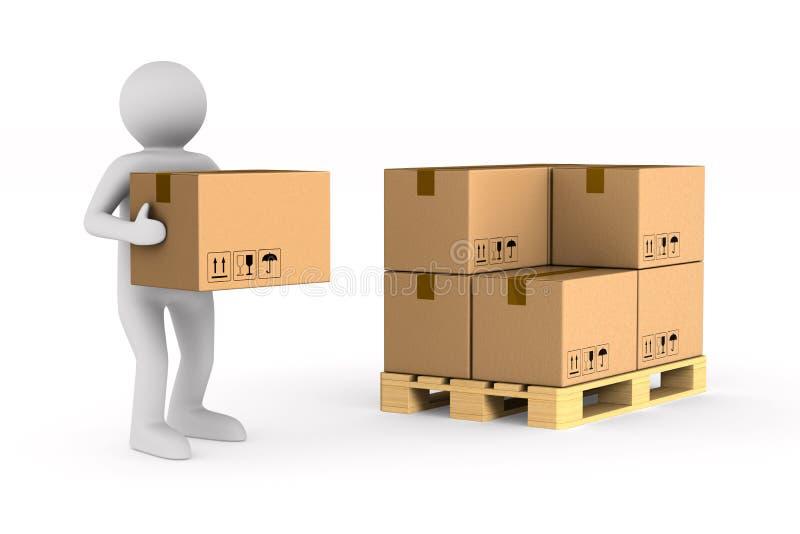 人运载在白色背景的货物箱子 被隔绝的3D illustratio 向量例证