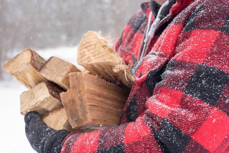 人运载的捆绑特写镜头木柴通过雪 免版税库存图片