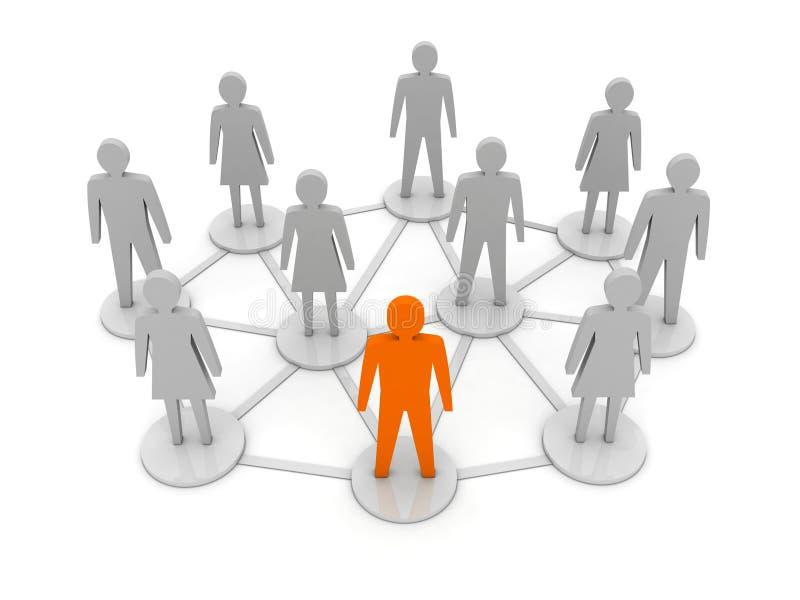 人连接数。 唯一,领导。 库存例证