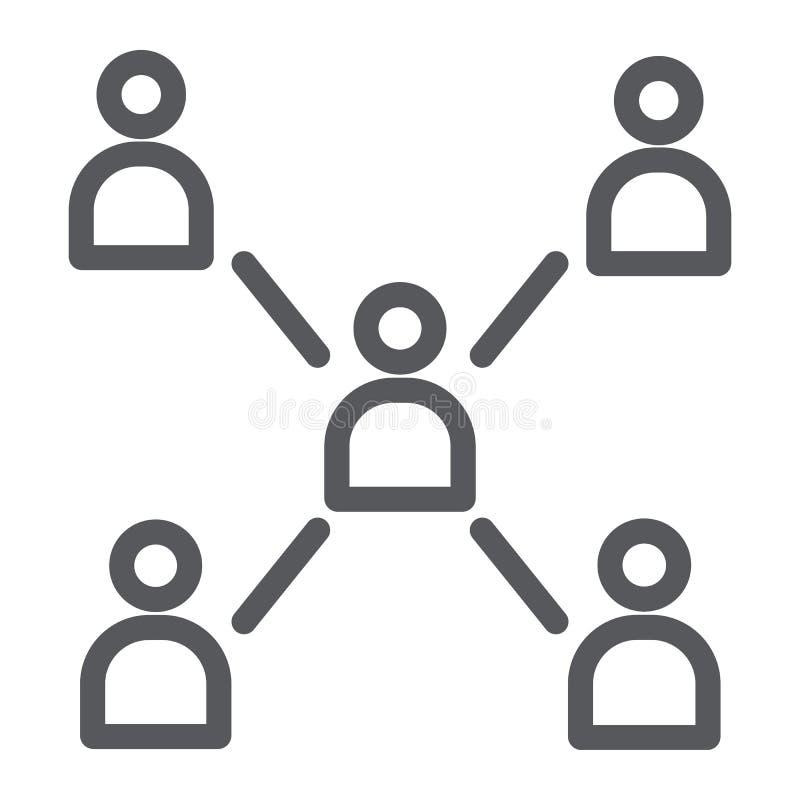 人连接线象,通信和社区,社会标志,向量图形,在白色的一个线性样式 库存例证