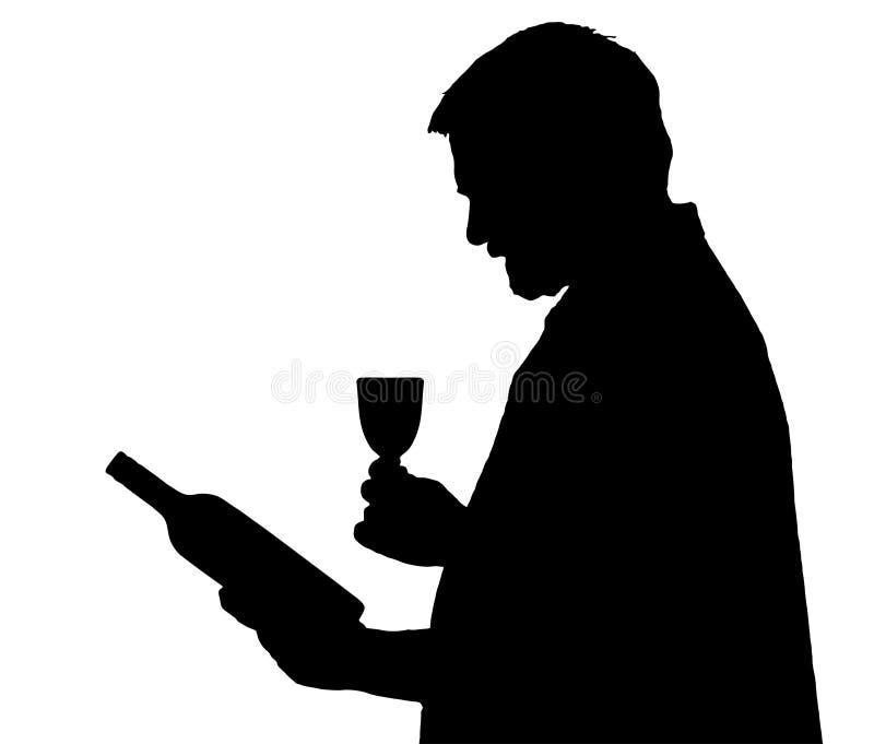 人选择瓶酒的剪影鉴定家 向量例证
