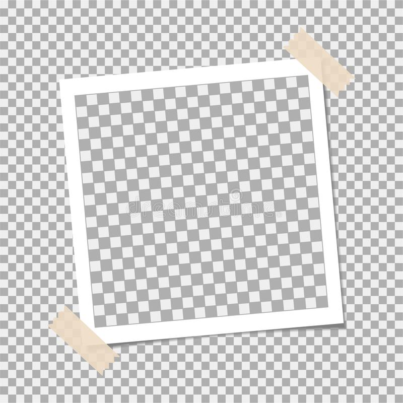 人造偏光板,与稠粘的磁带的照片框架在灰色背景 模板,您的时髦照片的空白 库存例证