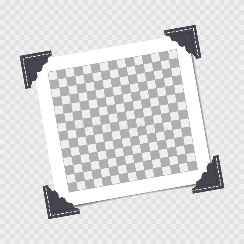 人造偏光板,与角度,在孤立背景的角落的照片框架 模板,您的时髦照片的空白 皇族释放例证