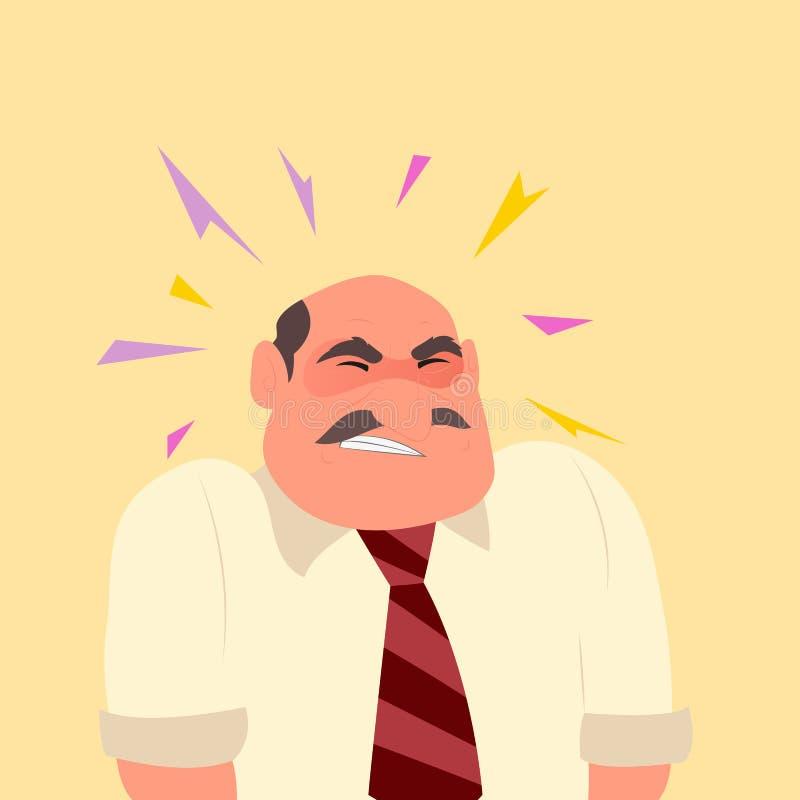 人遭受的头疼和偏头痛在痛苦中 向量例证