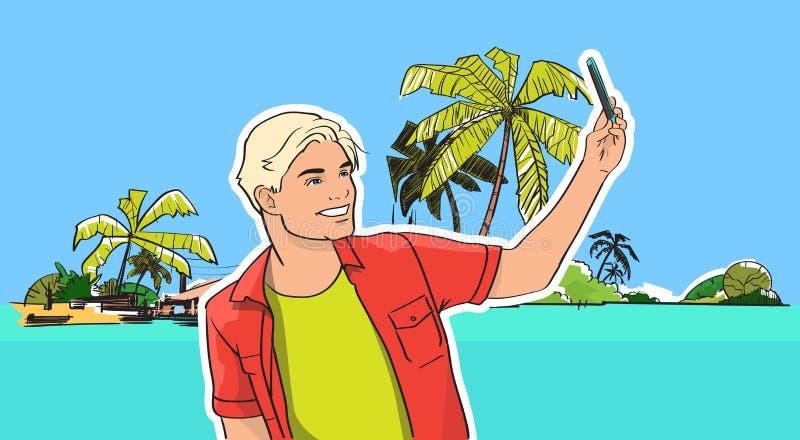 年轻人采取Selfie照片海滩海岸细胞巧妙的电话热带暑假 向量例证