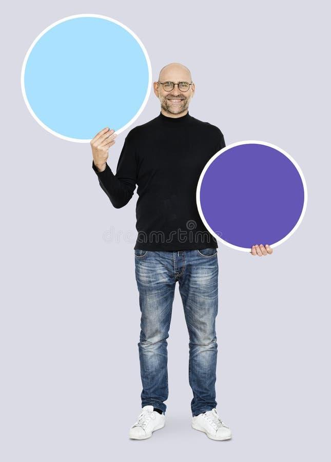 人陈列空白蓝色圈子板 图库摄影