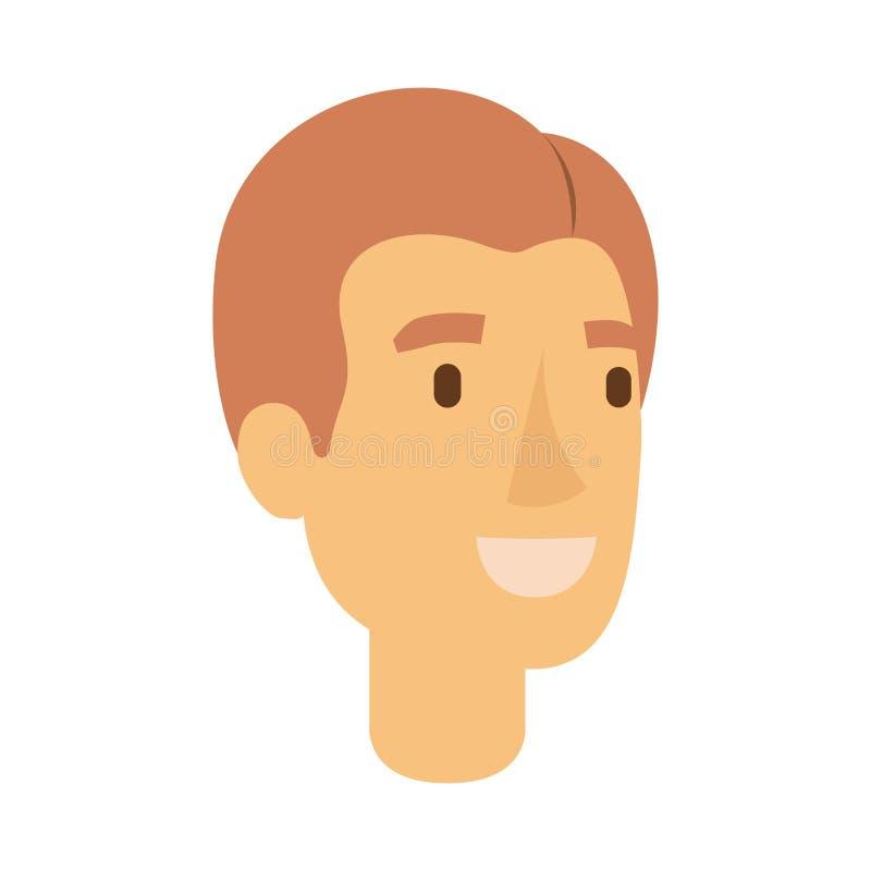 人面孔五颜六色的剪影与浅红色的发型边的分开了 向量例证