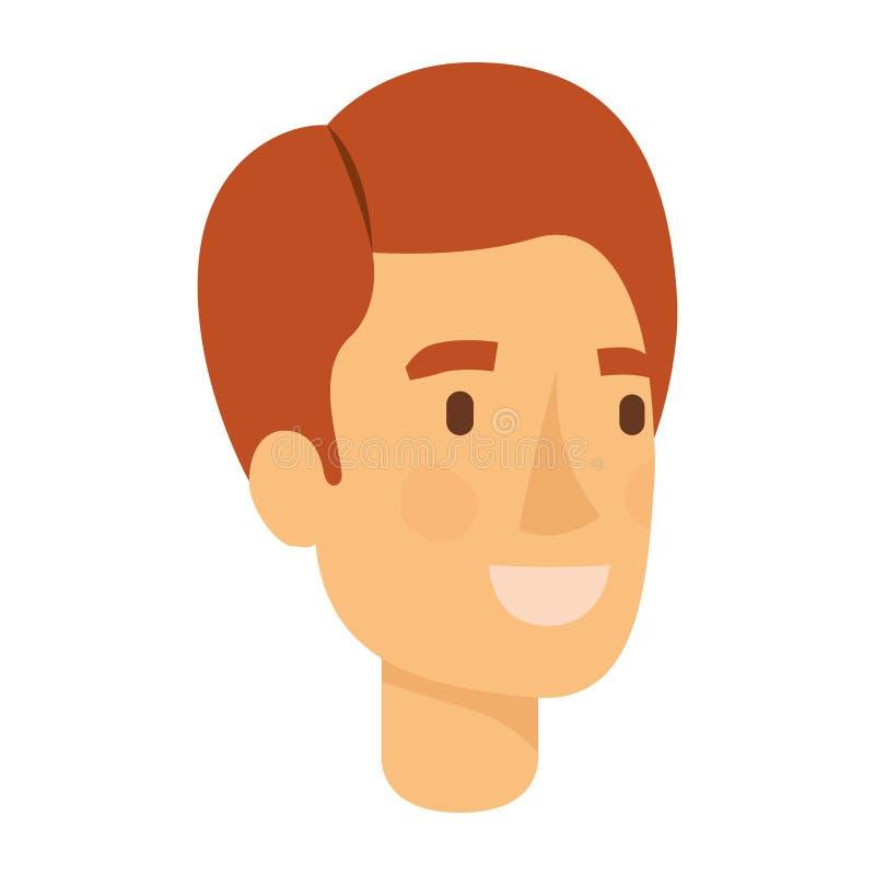 人面孔五颜六色的剪影与红色头发和微笑的 皇族释放例证