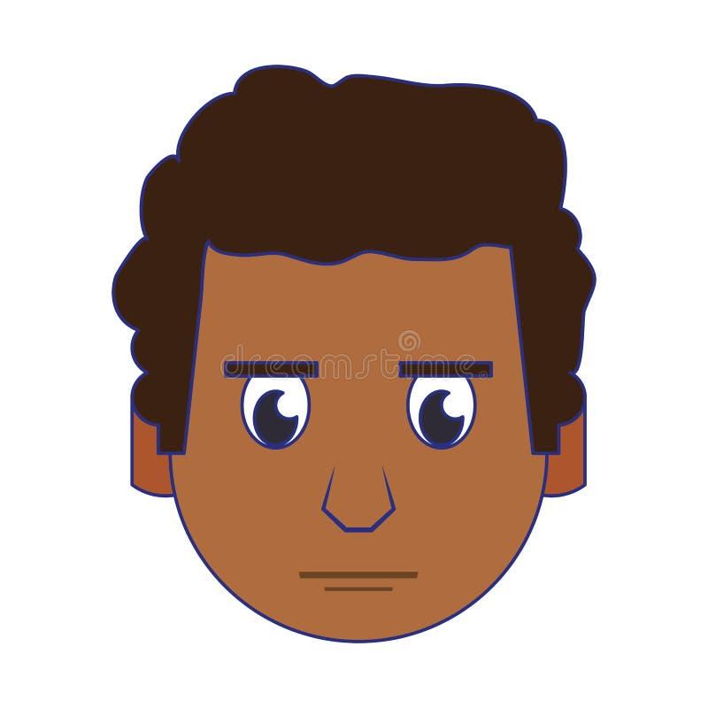 人面孔顶头字符动画片蓝线 皇族释放例证