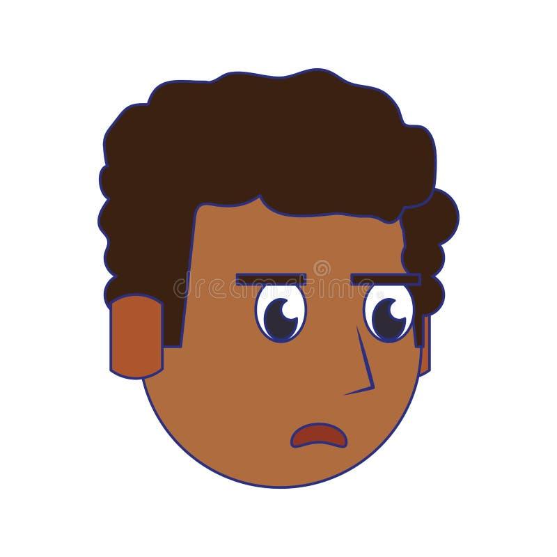 人面孔顶头字符动画片蓝线 库存例证