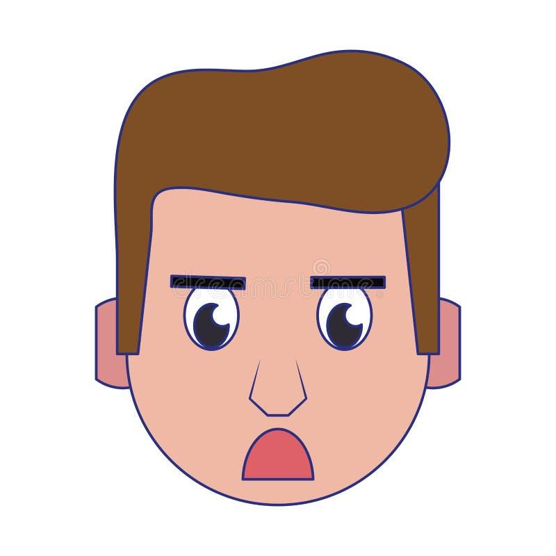 人面孔顶头字符动画片蓝线 向量例证