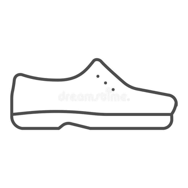 人鞋子稀薄的线象 男性鞋子导航在白色隔绝的例证 正式鞋类概述样式设计 皇族释放例证