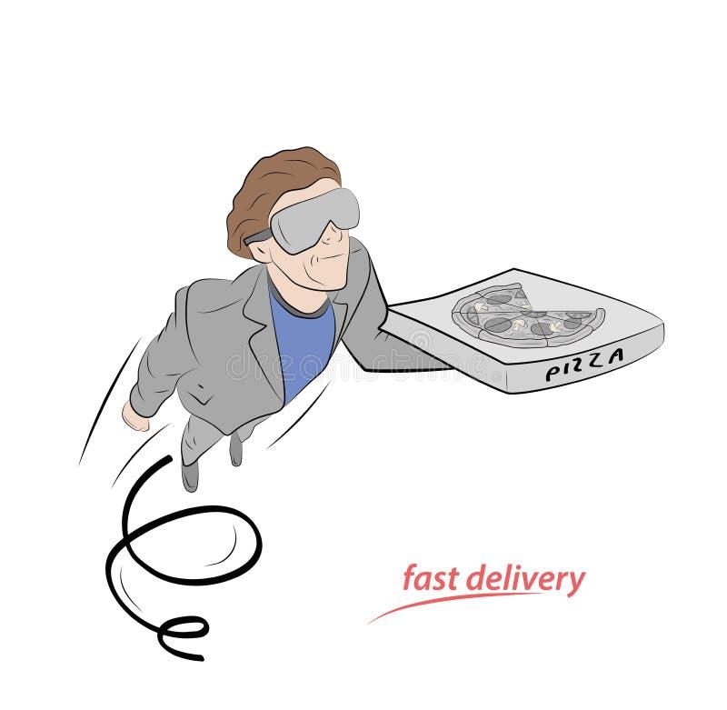 人飞行用比萨 快速的比萨交付 r 库存例证
