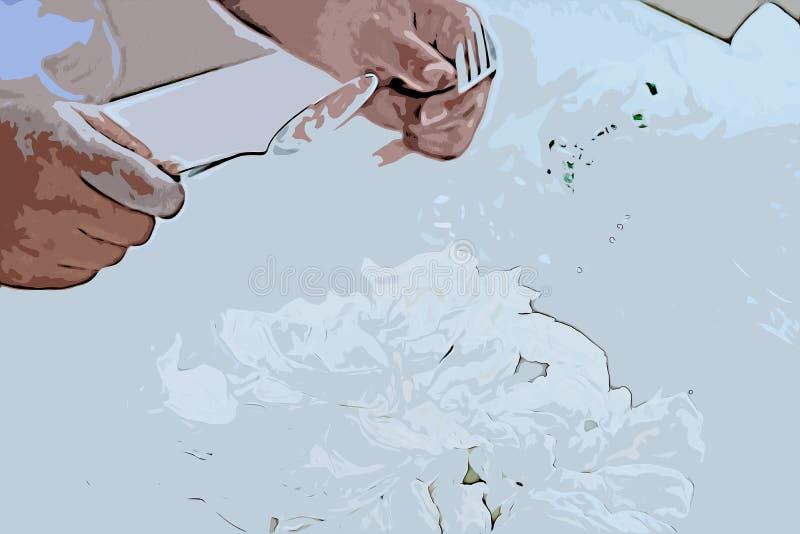 人食组织纸的数字绘画 库存例证