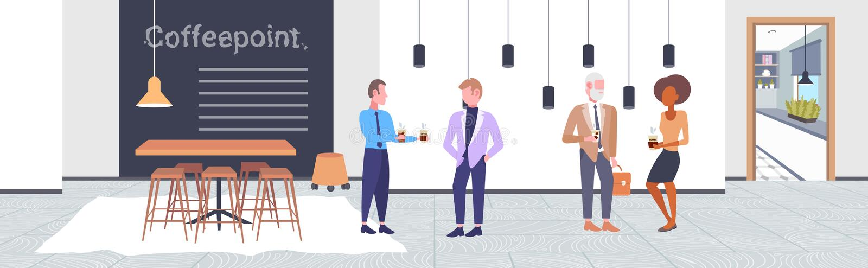 人饮用的咖啡混合种族买卖人客户谈论在遇见coffeepoint概念现代咖啡馆期间 向量例证