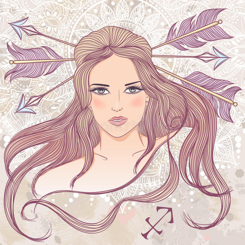 人马座的占星术标志作为美丽的女孩画象  库存例证