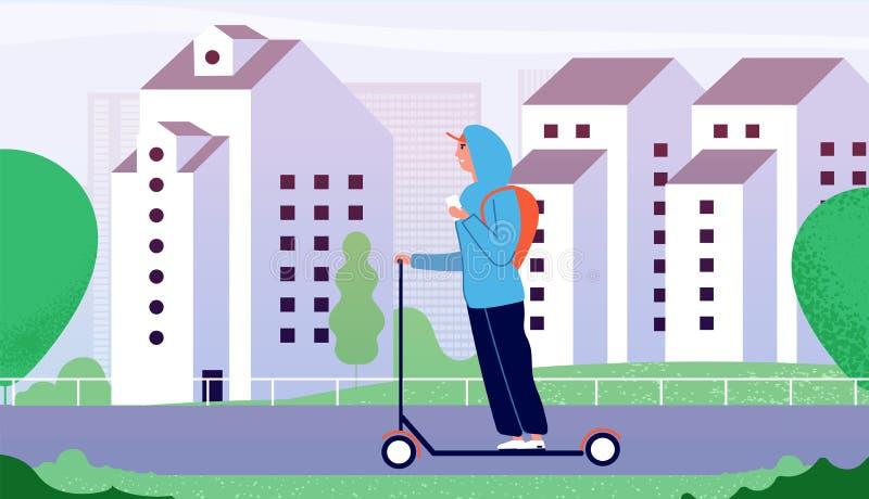 人骑马反撞力滑行车 沿城市街道的愉快的微笑的人乘驾有大厦的 电子个人运输 向量例证
