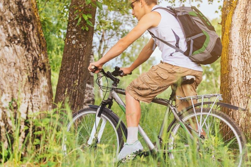 人骑马登山车在夏天 库存图片