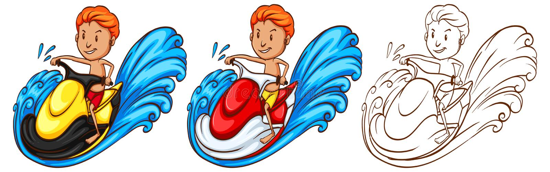 人骑马waterscooter的起草的字符 库存例证