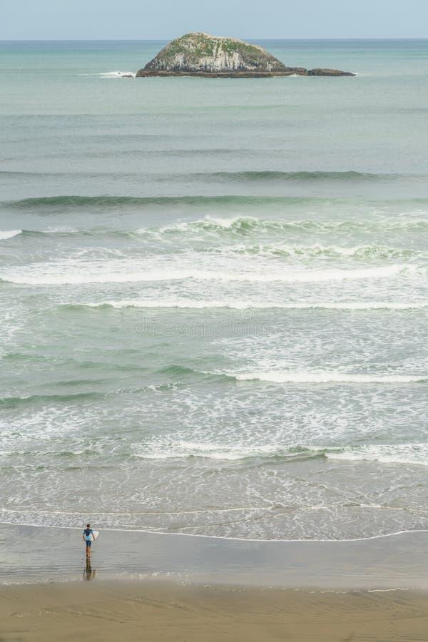 人鸟瞰图有进入有偏僻的海岛的距离的, Muriwai海滩海洋的冲浪板的, 免版税库存照片