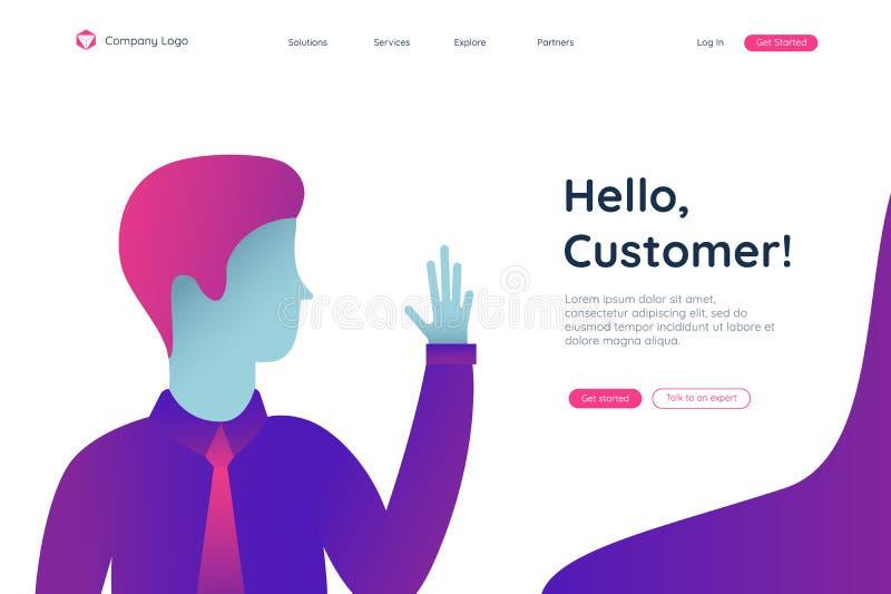 人,你好的顾客开始的页 r 登陆的页概念 客户外形网上营销仪表板 向量例证