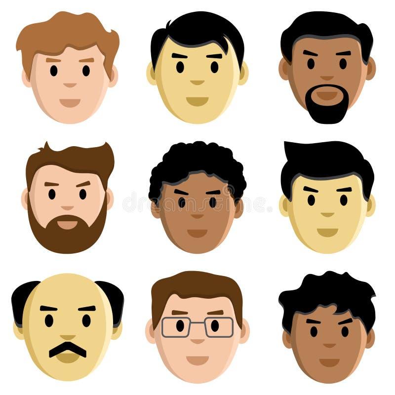 人,具体化,传染媒介的平集合面孔 向量例证