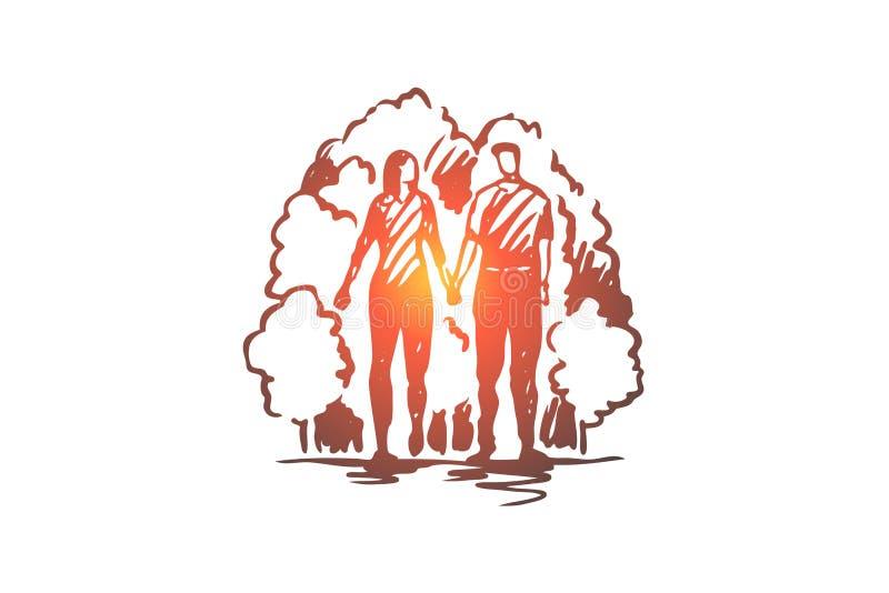 人,妇女,爱,浪漫,步行概念 手拉的被隔绝的传染媒介 向量例证