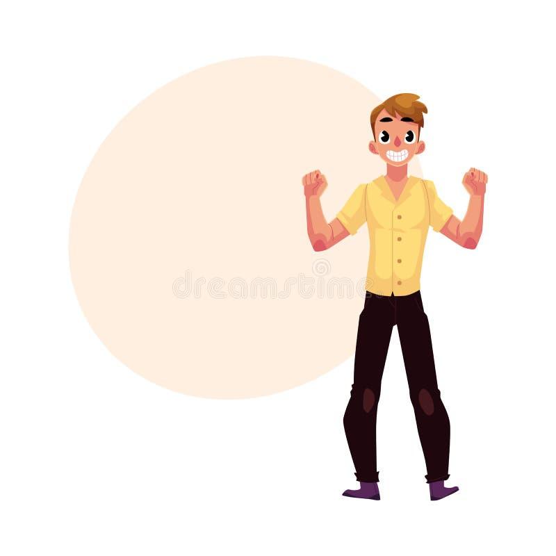 人,男孩,人,欣喜,欢呼,在幸福,兴奋的紧握拳头 库存例证