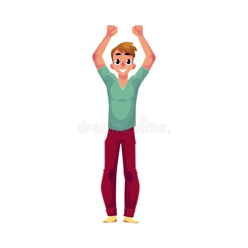 年轻人,男孩,人,欣喜,欢呼,跳跃在幸福,兴奋 库存例证