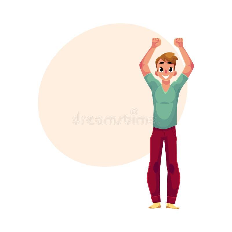 年轻人,男孩,人,欣喜,欢呼,跳跃在幸福,兴奋 向量例证