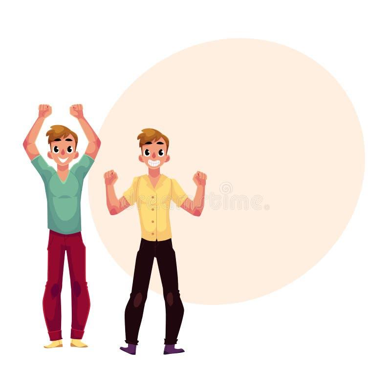 人,男孩,人,高兴的朋友,欢呼,在兴奋的紧握拳头 库存例证