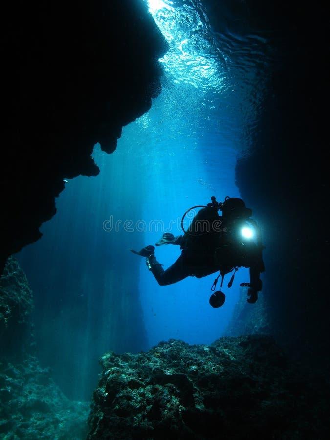 人水下的摄影师佩戴水肺的潜水洞 免版税库存照片