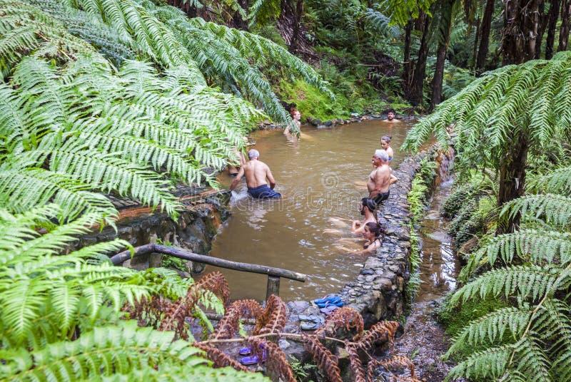 人们享受在自然热量水池,亚速尔群岛,葡萄牙的浴 免版税库存图片