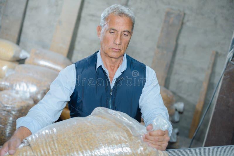 人移动的袋子种子 免版税库存照片