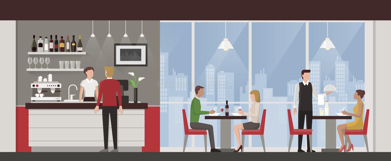 人们吃午餐在豪华餐馆 向量例证