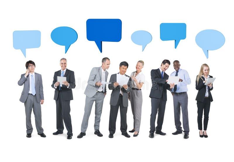 人们和营业通讯概念 免版税库存照片