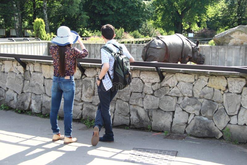 人们在动物园里 库存照片