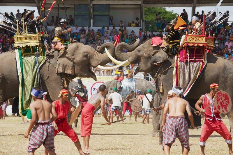 人们在大象展示在素林,泰国参与 库存照片