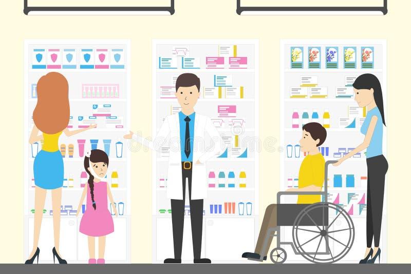 人们在药房商店 库存例证