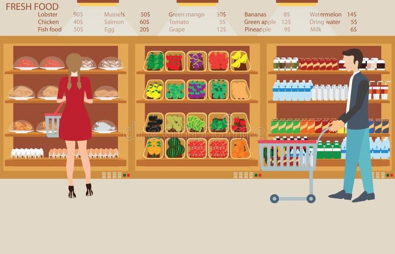人们在超级市场杂货店用新鲜食品 皇族释放例证