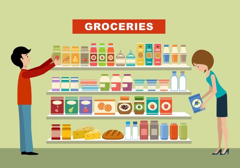 人们在超级市场 副食品 库存例证