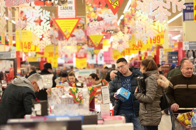 人们在超级市场 库存照片