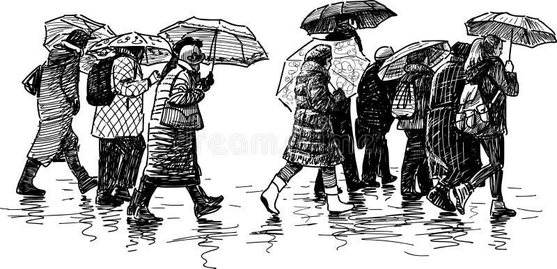 人们在雨中 库存例证